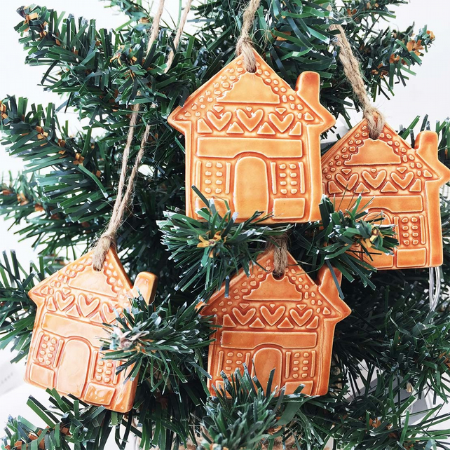 Christmas Gingerbread House Decorations.Small Ceramic Gingerbread House Decoration Christmas Decoration