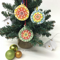 Set of three Christmas decorations pottery baubles festival baubles