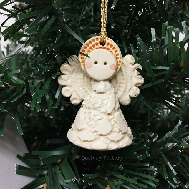 Teeny little ceramic angel Christmas decoration cream lace design pottery angel