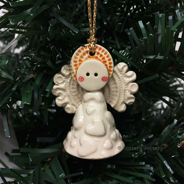 Teeny little ceramic angel Christmas decoration cream heart design pottery angel