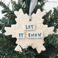 Ceramic snowflake decoration Let It Snow pottery snowflake christmas decoration