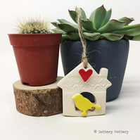Small Ceramic bird house decoration Pottery bird house