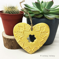 Ceramic heart hanging decoration Pottery Heart Folk art love heart YELLOW