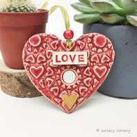 Pottery decoration Love Heart Ceramic heart  Valentines Day Valentine