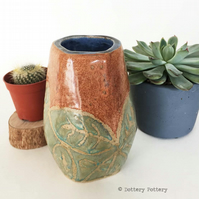 65% OFF Hand built ceramic vase. Stoneware leaf design in green, orange and blue