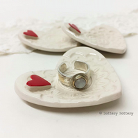 Little pottery heart dish trinket dish, ring plate, ring dish Wedding Day