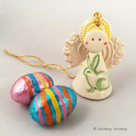 Teeny little ceramic angel decoration with bunny design Easter rabbit