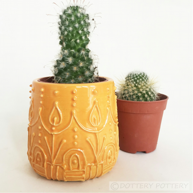 Retro design ceramic pot small orange ceramic pot plant pot