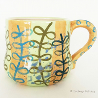 50% OFF Tea mug pottery mug handpainted leaf design ceramic mug handmade mug