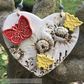 Ceramic heart with butterfly and bees pottery heart natural heart floral design