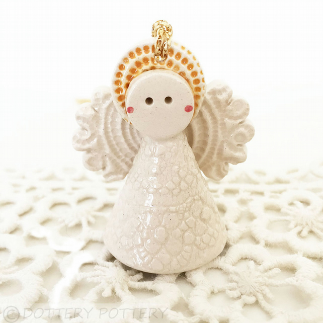 Teeny little angel decoration Guardian angel memorial gift ceramic angel