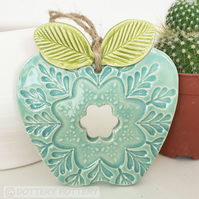 Ceramic Apple decoration Thank You Teacher Gift Pottery Apple Folk Art Primitive