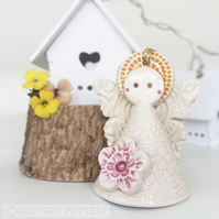 Teeny little fairy decoration pottery fairy ceramic fairy flower fairy