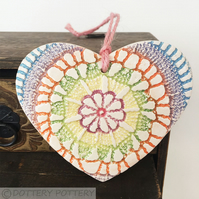 Ceramic heart hanging decoration Pottery Heart Tie Dye Festival brightColours