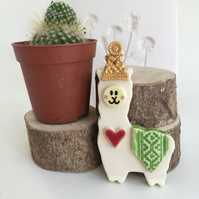 Pottery Christmas Llama in a party hat pottery alpaca ceramic Llama Christmas