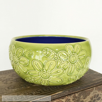 Green ceramic pot pottery bowl beautiful raised pattern plant pot cactus