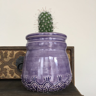 Purple ceramic pot small pottery vase beautiful raised pattern plant pot