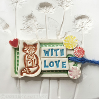 Ceramic gift tag decoration with fox and flowers pottery tag pottery fox