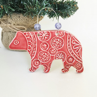 Ceramic Polar Bear in pyjamas Christmas decoration pottery bear