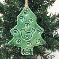 Green Ceramic Christmas tree decoration with bird and star Pottery decoration