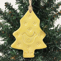 Yellow Ceramic Christmas tree decoration with bird and star Pottery decoration