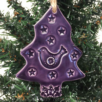 Purple Ceramic Christmas tree decoration with bird and star Pottery decoration