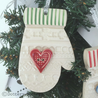 Ceramic Christmas Mitten decoration with red button