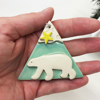 Ceramic polar bear decoration polar bear with a star TURQUOISE