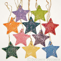 Ceramic Star Christmas decorations - lucky dip (ONLY RED STARS LEFT NOW)
