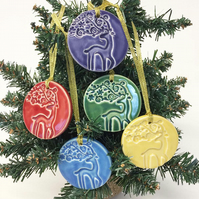 Christmas decorations set of five stags round ceramic baubles Xmas