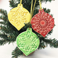 Christmas Baubles set of three pottery Bauble decorations