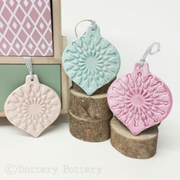 Pastel Christmas Baubles set of three pottery Bauble decorations