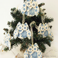 Ceramic snowy owl hanging decoration Pottery owl ceramic bird