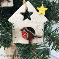 Ceramic Robin in a birdhouse Pottery robin Christmas decoration
