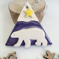 Ceramic polar bear decoration polar bear with a star PURPLE