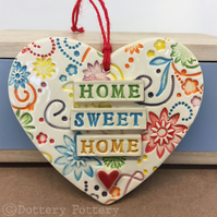 Bright ceramic heart decoration Home Sweet Home