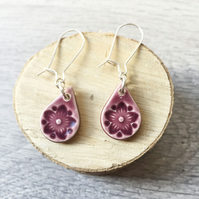 Handmade ceramic teardrop earrings on sterling silver ear wires