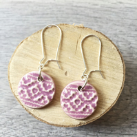 Handmade ceramic disc earrings on sterling silver ear wires