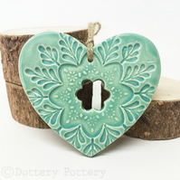 Ceramic heart hanging decoration Pottery Heart Folk art love heart Turquoise