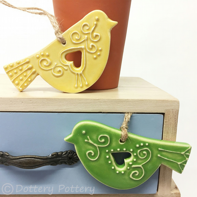 Set of two ceramic lovebird decorations folk art