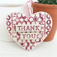 Pink Ceramic heart floral decoration Thank You Teacher Gift Pottery heart