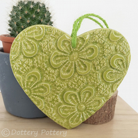 Ceramic heart hanging decoration Pottery Heart Retro Flower Bright Colours