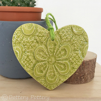 Small Ceramic heart hanging decoration Pottery Heart Retro Flower Bright Colours