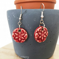 Handmade ceramic earrings on sterling silver ear wires