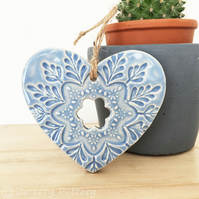 Ceramic heart hanging decoration Pottery Heart Folk art love heart Baby Blue