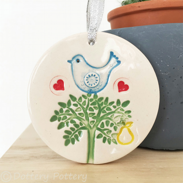 Bird in a pear tree ceramic decoration Pottery decoration