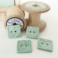 Set of four little rectangular ceramic handmade buttons