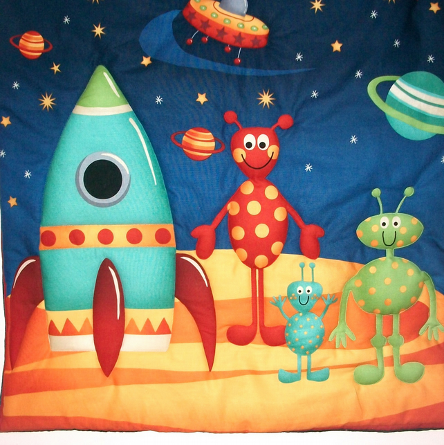 Rocket spaceship aliens space theme quilted folksy for Space themed fabric