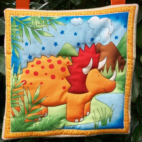 Dinosaur triceratops quilted wall hanging/ decoration
