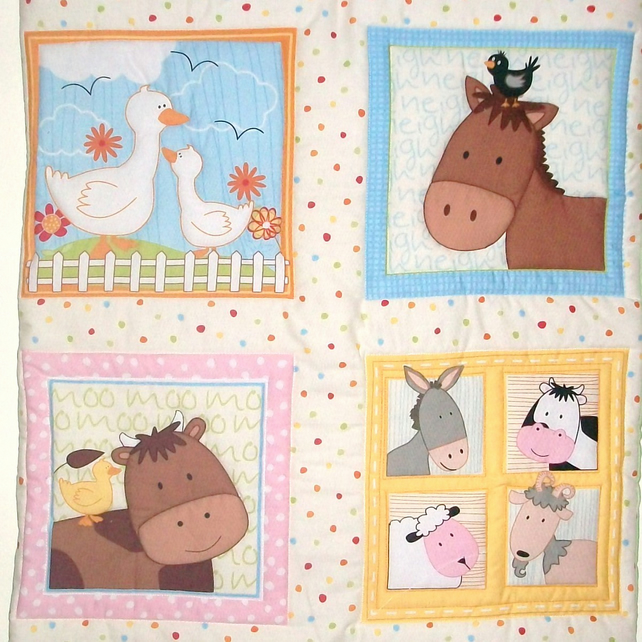 Farm Animals Quilted Wall Hanging and FREE matching cushion